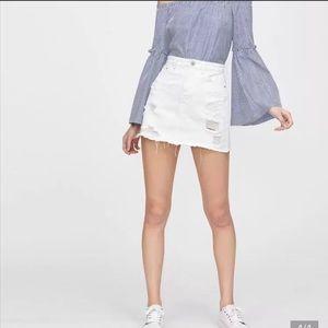 ANTHROPOLOGIE AG White Distressed Denim Mini Skirt